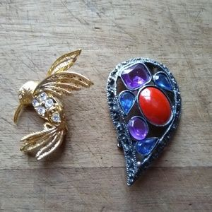 Lot of Two Vintage Art Deco Brooches Napier